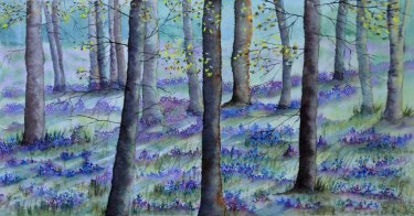 Bluebell Wood 1 Watercolour Pastel on Watercolour Paper