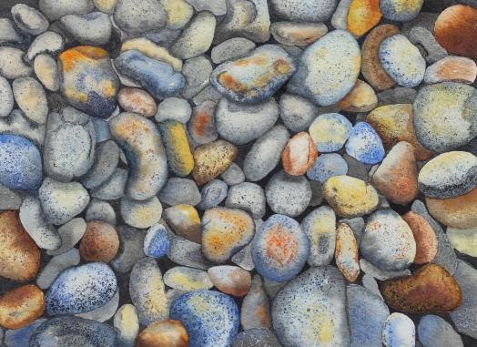 Beach Pebbles in Watercolour