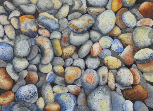 Beach Pebbles in Watercolour